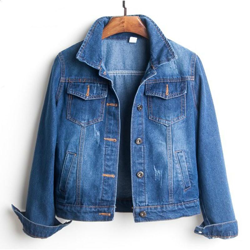 04c632afe7b2b Plus Size Ripped Hole Cropped Jean Jackets 4Xl 5Xl Light Blue Bomber Short  Denim Jaqueta Long Sleeve Casual Coat Women Harajuku Lightweight Jackets  Designer ...