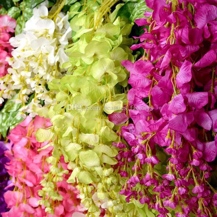 Wholesale Wisteria Fake Hanging Vine Silk Foliage Artificial Flower Leaf Garland Plant Home Decoration Colors for choose
