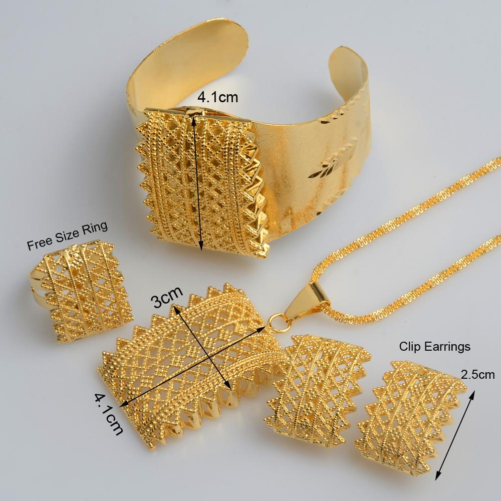 Anniyo New Ethiopian Goldfarben-Sets Anhänger Halsketten Ohrringe Armband Ring Habesha Schmuck eritreischen Hochzeitsgeschenke # 056502
