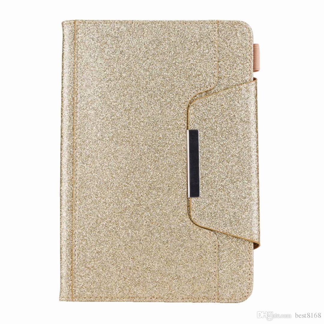 Portafoglio in pelle di lusso Bling Glitter iPad Mini 1 2 3,4, iPad 2 3 4, 5 6 AIR 2 9.7 '', 2017 2017 PU Scintillio Holder Case Custodia la pelle