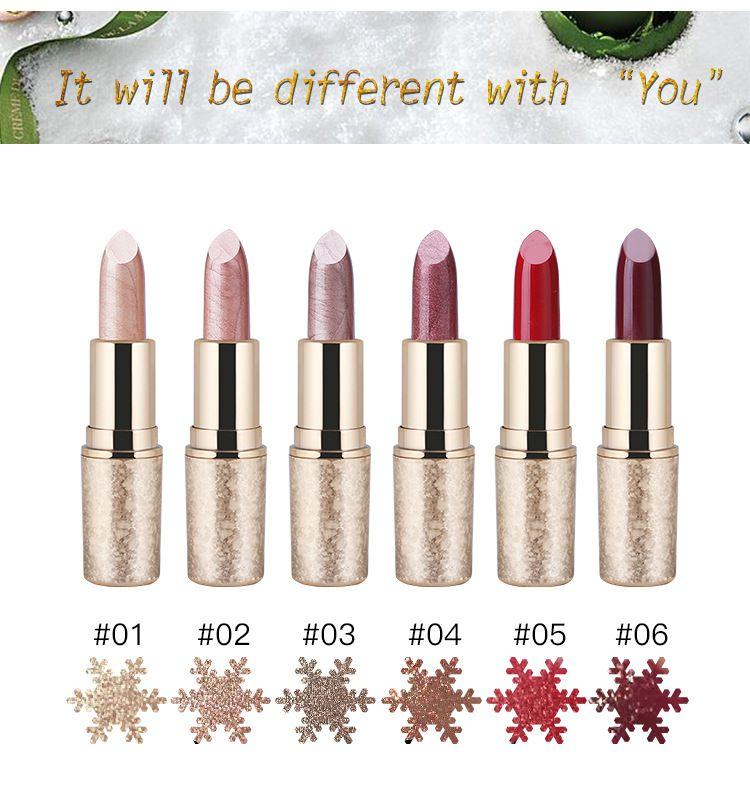 2018 Nouveau Haute Qualité Lèvres Maquillage QIC noël flocon de neige doré doré mat rouge à lèvres maquillage 6 couleurs rouges à lèvres DHL Livraison Gratuite