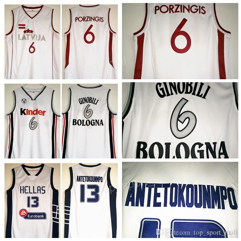 newest 5c501 77fc1 Kinder Bologna Basketball 6 Manu Ginobili Jersey Latvija 6 Kristaps  Porzingis Greece Hellas The Alphabet 13 Giannis Antetokounmpo Jerseys