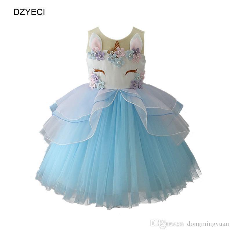 9faf926a1 Vestido de unicornio para bebé niña fiesta de cumpleaños traje moda niño de  dibujos animados de encaje TUTU princesa Frock Niños Ceremonia ...