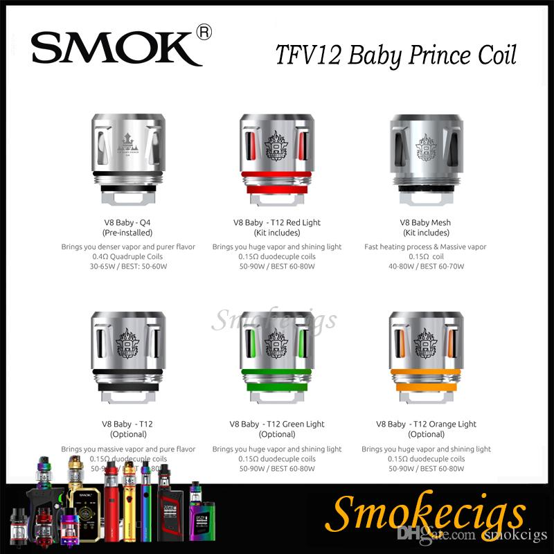 SMOK TFV12 Baby Prince Coil TFV8 Baby Beast New Coils Q4 T12 Mesh Coil T12  Light Coil Denser Clouds and Purer Flavor 100% Origina