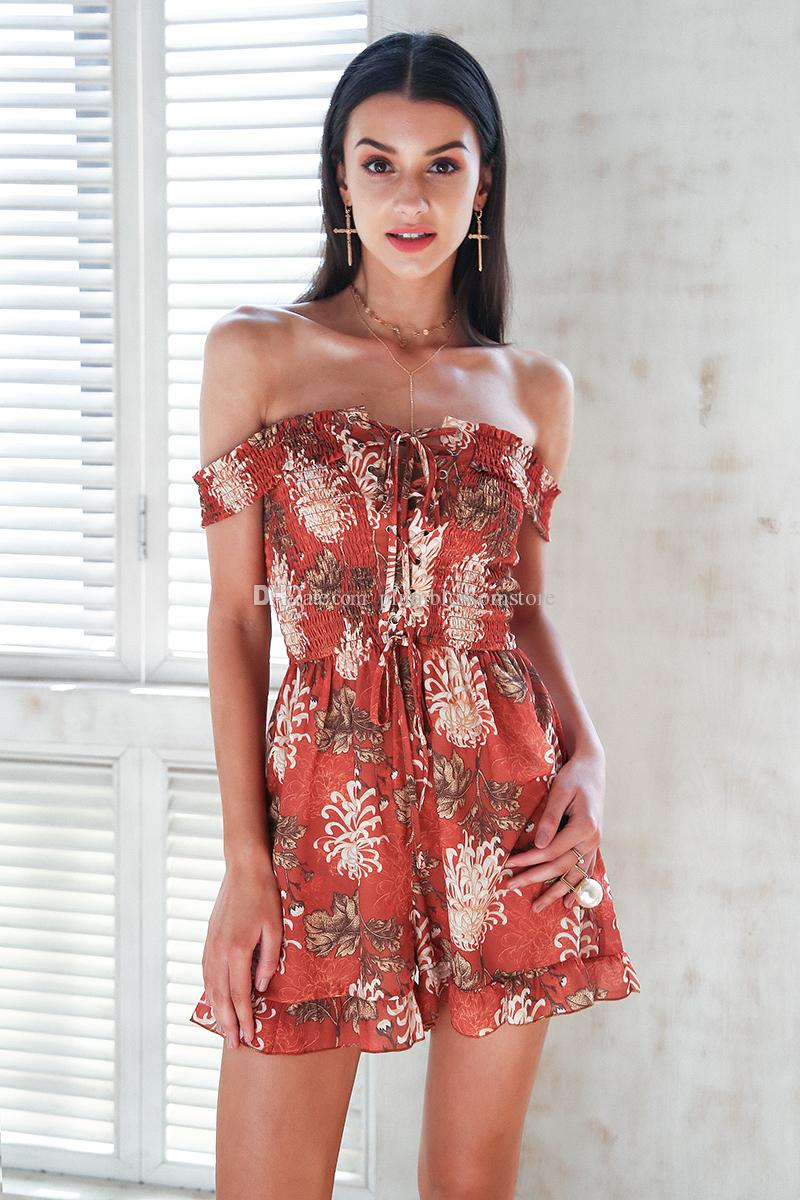 da6333122ed0 2019 Floral Print Jumpsuit Romper Women Off Shoulder Lace Up Boho Jumsuit  Chic Sexy Summer Strap Bohemian Beach Holiday Playsuits Short Overalls From  ...
