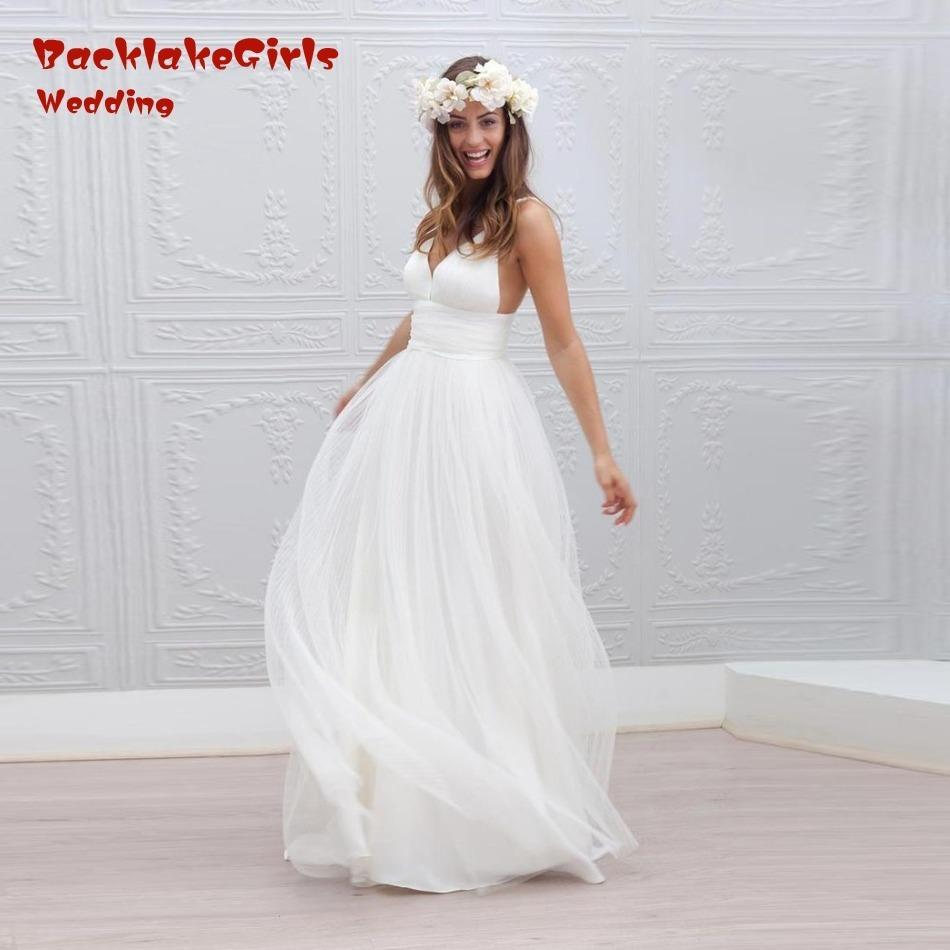 Discount Backless Simply Long Beach Wedding Dresses Pleat A Line Vestidos  De Noiva Tulle Cheap Bridal Gown Vestido De Noiva Bohemian Wedding Gowns Uk  ... 5c61eefd943c