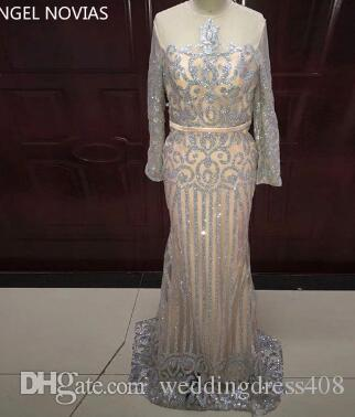 138e0ed5f9e0 Long Sleeve Mermaid Arabic Dubai Woman Evening Dress 2018 Formal Elegant Prom  Dress Party Gown Abendkleider Lang Luxus Wedding Dresses For Older Brides .