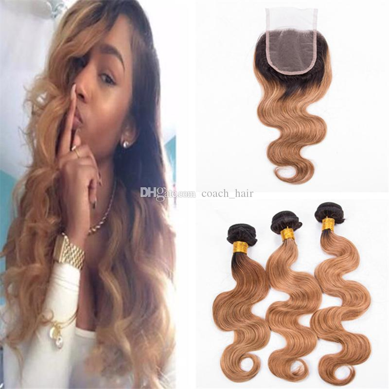 2019 Strawberry Blonde Ombre 27 Human Hair Weave 3 Bundles With Lace