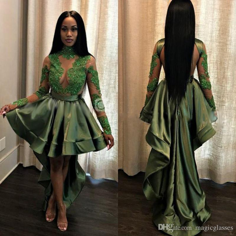 Emerald Green Black Girls High Low Prom Dresses 2018 Sexy See Through Appliques Sequins Sheer Long Sleeves Evening Gowns Cocktail Dress