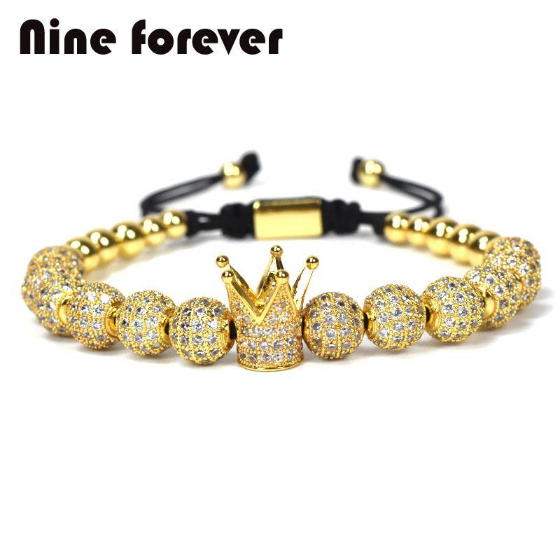 ddad250ee89 1pcs New Design women fashion CZ Imperial Crown Bracelets gold-color Micro  Pave CZ Women Braiding Macrame Bracelet men jewelry Y1891709