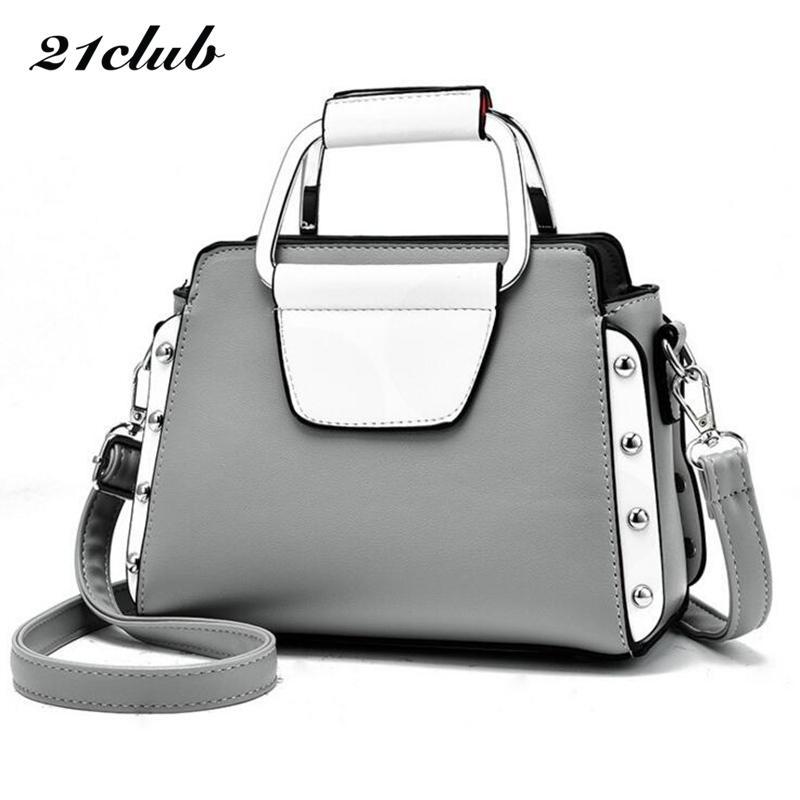 9fbb525545 21club Brand Women Solid Small Totes Rivet Metal Handle Small Handbag  Hotsale Ladies Purse Crossbody Messenger Shoulder Bags Red Handbags Pink  Handbags From ...