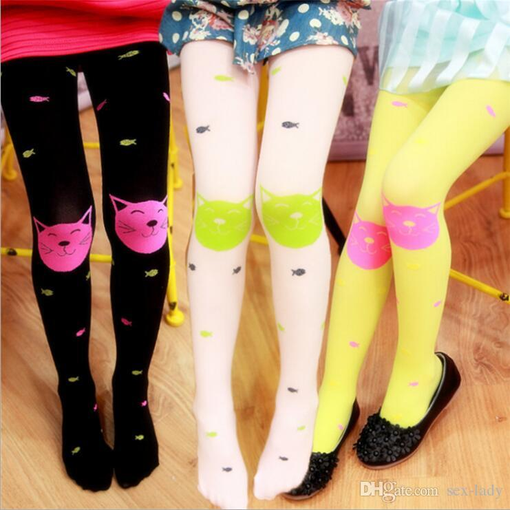 cd6fb37c63623 Spring Summer Cute Cartoon Girl Velvet Pantyhose Children Leggings Socks Cat  Fish Pattern Candy Color High Quality Cheap Fashion Socks Toe Sock From Sex  ...