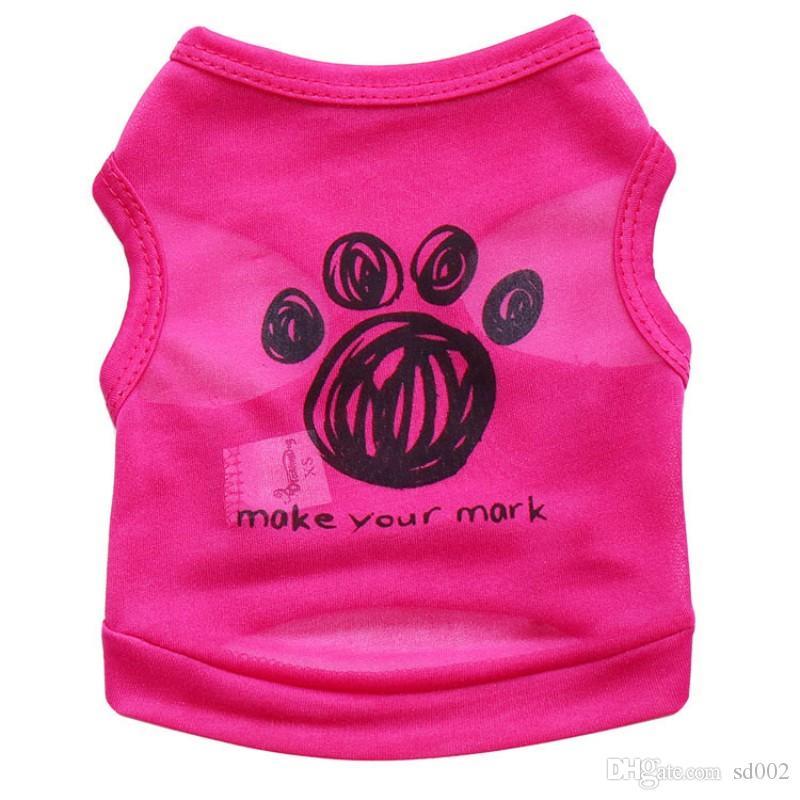 Mode Polyester Faser Hund Westen Waschbar Komfortable Pet Shirt Printed Footprint Brief Machen Sie Ihre Mark Puppy Kleidung Freizeit 5 7cy4 B