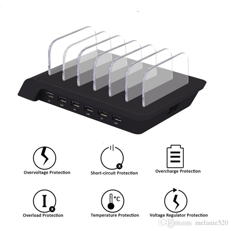 Universal Detachable 50W 10.2A 6-Port USB Charging Station Base Dock Stand Quick Charger For iphone Mobile Phone Ipad pad tablet pc