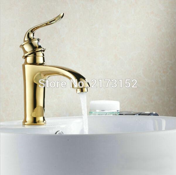 Luxury Gold Plated Bathroom Faucet Royal Single Handle Hot & Cold ...