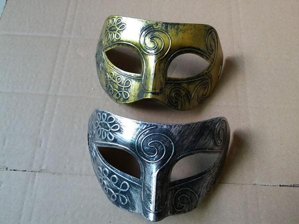 Adult Men Retro Roman Gladiator Masquerade Masks Vintage Mask Carnival Mask Mens Halloween Costume Party Mask Silver And Gold