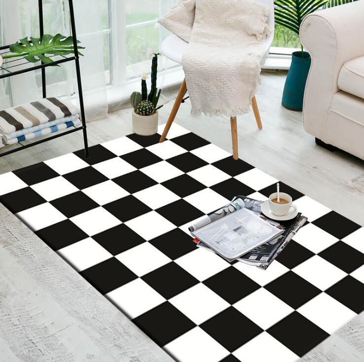 Large European Geometric Black And White Carpet Area Rug For Bedroom