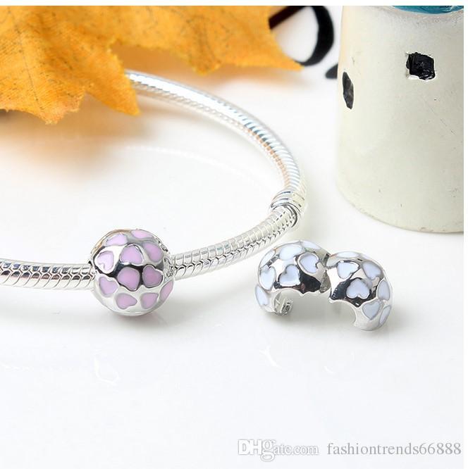 Fit Sterling Silver Bracelet Anti Dropping Spacer Heart 3mm Hole Bead European Stopper Clip Lock Charm Fit pandora Bracelet jewelry findings
