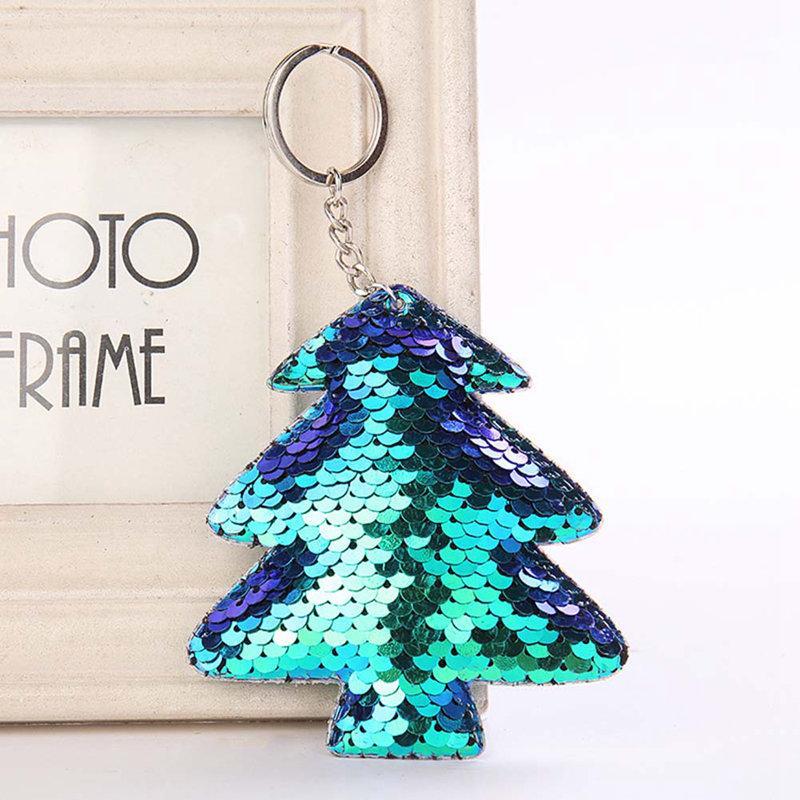 Cute Sequin Cactus Mermaid Christmas Tree Key Chain Keychain Women