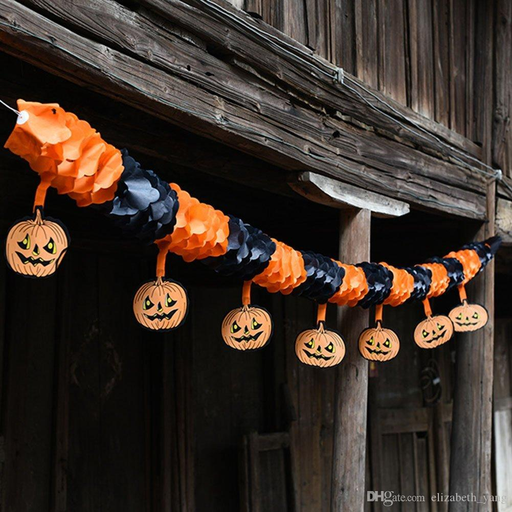 Halloween Pumpkin Paper Garlands Bunting Home Banner Hanging Paper Room Outdoor Party Halloween Decoration Pull Flowers wholesale