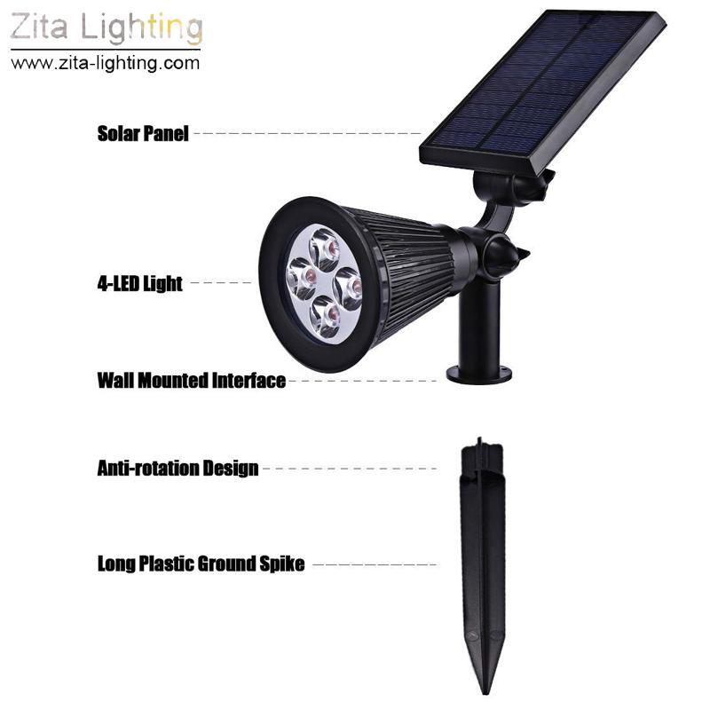 Zita Beleuchtung Solar LED Licht Outdoor LED Solar Power Spot RGB Garten Rasen Lampe Landschaft Scheinwerfer Landschaft Super Helle Pathway Lampe