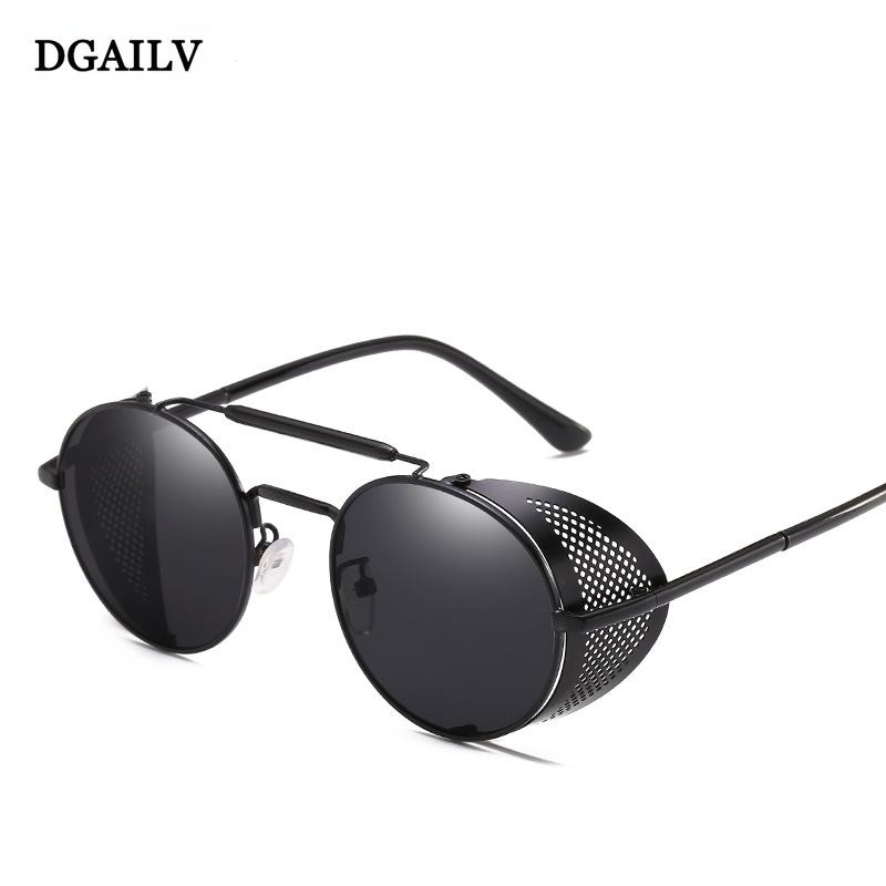 4eb616d61cf06 DGAILV 2018 New Fashion SteamPunk Sunglasses Men Round Side Mesh Style Sun  Glasses Brand Designer Vintage Punk Eyewear DG33 Electric Sunglasses  Fastrack ...