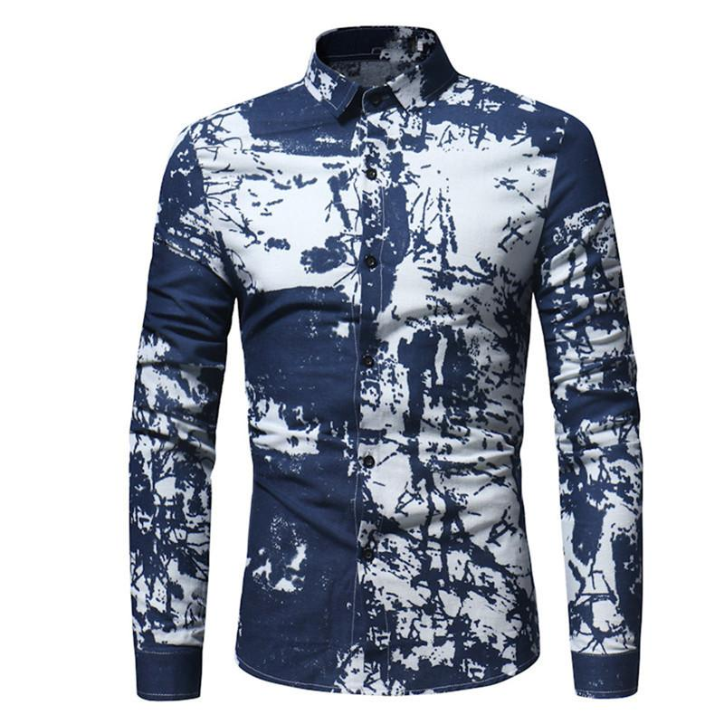 2019 Male Smart Casual Shirt Hand Painted Style Blouse Men Offic