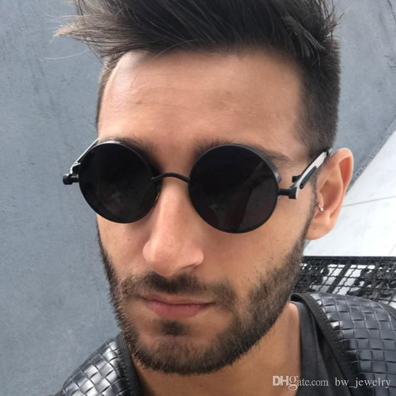 7935e8d2bd Gothic Steampunk Sunglasses Men Brand Designer Round Sun Glasses Vintage  Metal Punk Mirror Shades UV 400 Male Goggles Designer Eyeglasses Womens  Sunglasses ...
