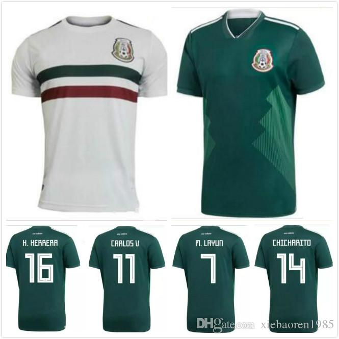 226ead353301c 2019 Top Quality 2018 2019 Mexico Home Away Soccer Jersey 18 G.DOSSANTOS  C.VELA Mexico Green White Shirt CHICHARITO O.PERALTA Football Jersey From  ...