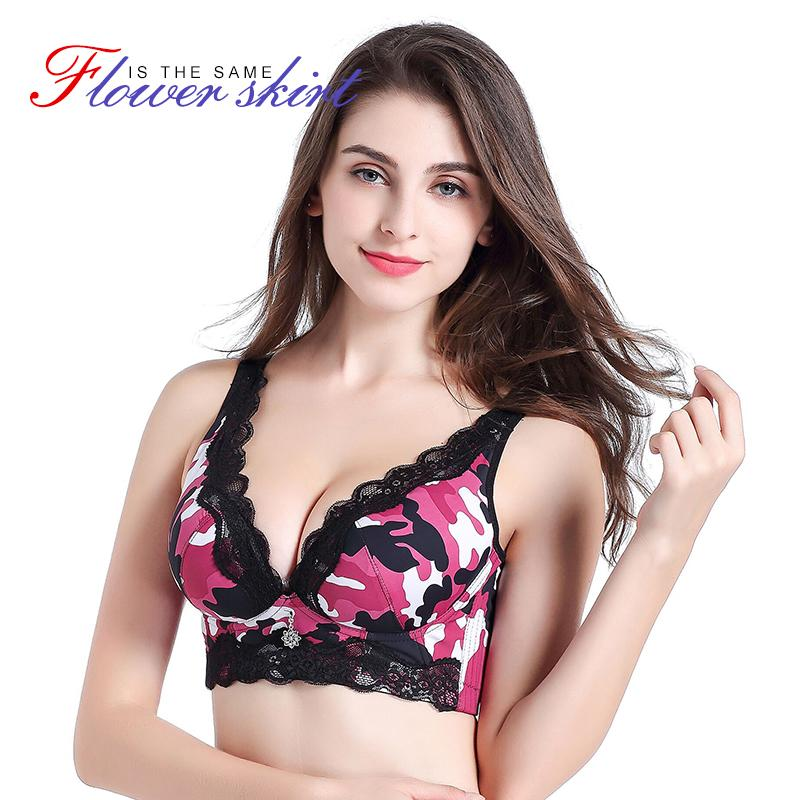 8ca94d8f8f1c0 2019 Camouflage Plus Size Bralette Push Up Sexy Lace Bra Deep V Cup Female  Lingerie Women S Underwear Seamless Bras For Large Sizes From Qingyun1996