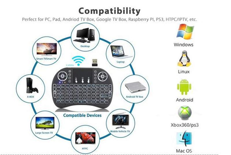 Rii I8 Inteligente Voar Air Mouse Remoto colorfull Backlight 2.4 GHz Teclado Touchpad Sem Fio Bluetooth Touchpad Para TV Android caixa