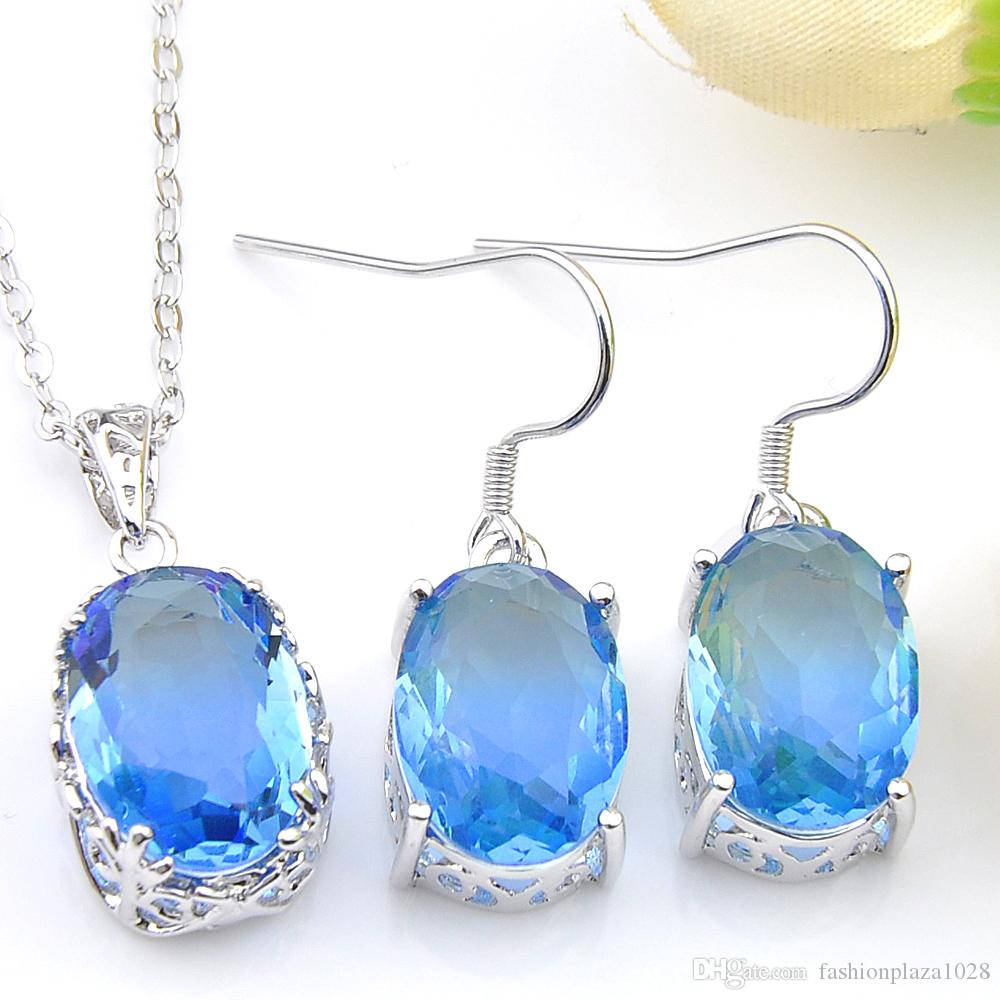 5 Sets Wholesale Holiday Jewelry Gift Oval Fire Blue Tourmaline Crystal Zircon Gems 925 Sterling Silver Pendants Drop Earrings Jewelry Sets