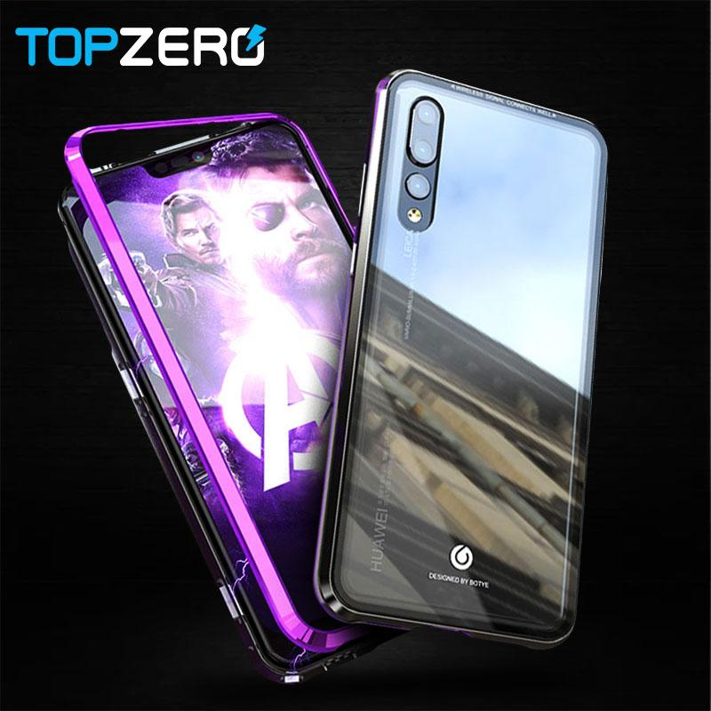 reputable site 27f2a 371dc Magnetic Armor Case For Huawei Nova 3 3i Metal Bumper Magnets Clear Glass  Case For Huawei P20 Lite P20 Pro Back Magnet Cover