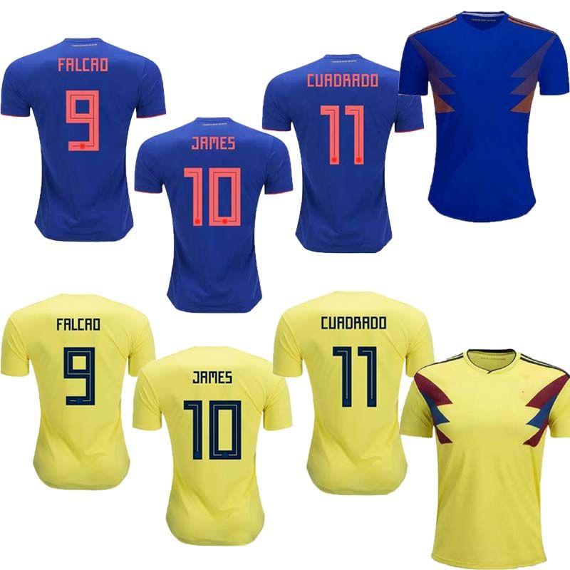 finest selection f2977 fff05 AAA+ 2018 World cup Colombia away Soccer Jersey #10 JAMES national team  Soccer Shirt 2018 world cup FALCAO away blue football Uniform