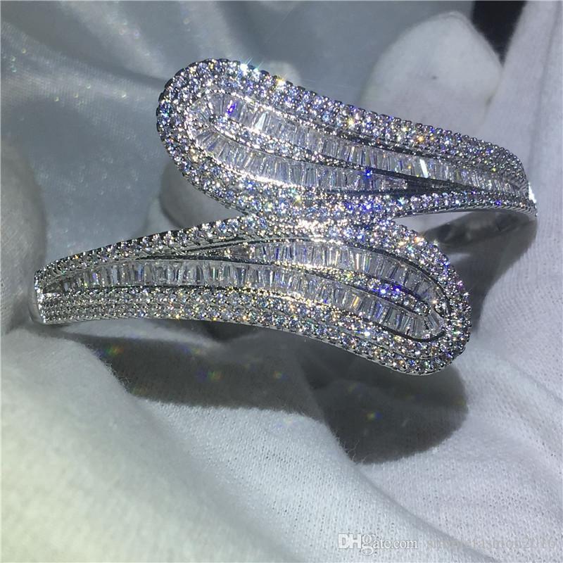 Fashion Diamond T stone Baguette bracelet Big shinning bangle S925 Silver Filled womens accessaries