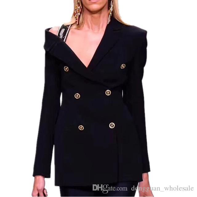 buy popular 70d78 161b7 Acheter HAUTE QUALITÉ Nouvelle Mode 2019 Piste Concepteur Noir Sexy Blazer  Veste Femmes Double Breasted Diamonds Blazer De  35.54 Du  Dongguan wholesale ...