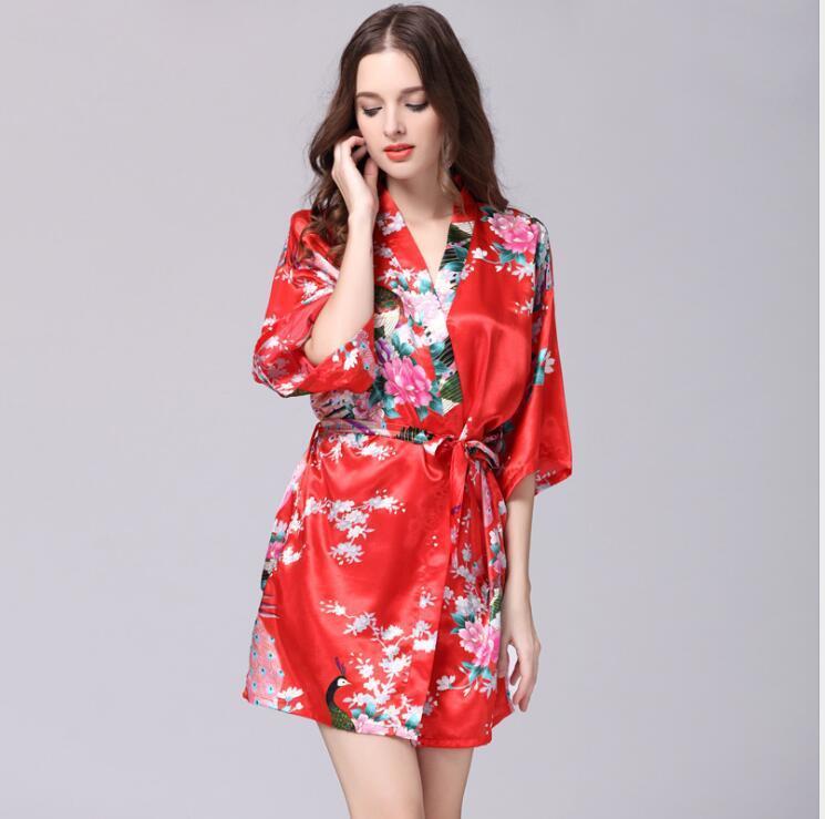 8f6c1097cc 2019 Sexy Women Satin Robe Floral Peacock Print Bathrobe Short Kimono Night  Bath Robe Dressing Gown MX8 From Pc201806