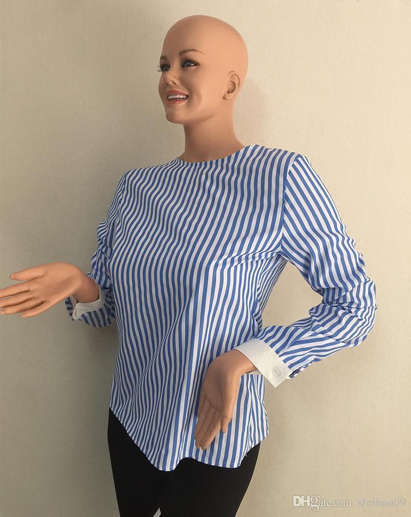 여자 블라우스 셔츠 캐주얼 수직 줄무늬 허리 보우 중형 여름 옷깃 목 느슨한 유럽형 긴팔 플러스 S- 3XL 패션상의