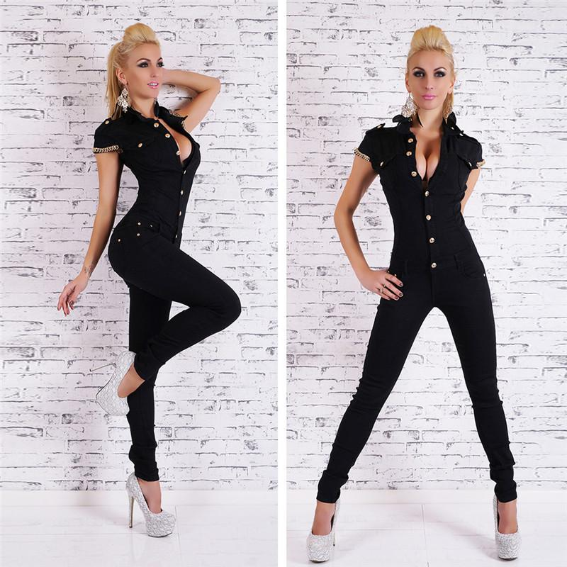 96514d010b 2019 Women Black Overalls For Women Rompers Autumn Fashion Denim Long  Jumpsuit Sexy Deep V Neck Jean Jumpsuits Buttons Chain From Cutelove66