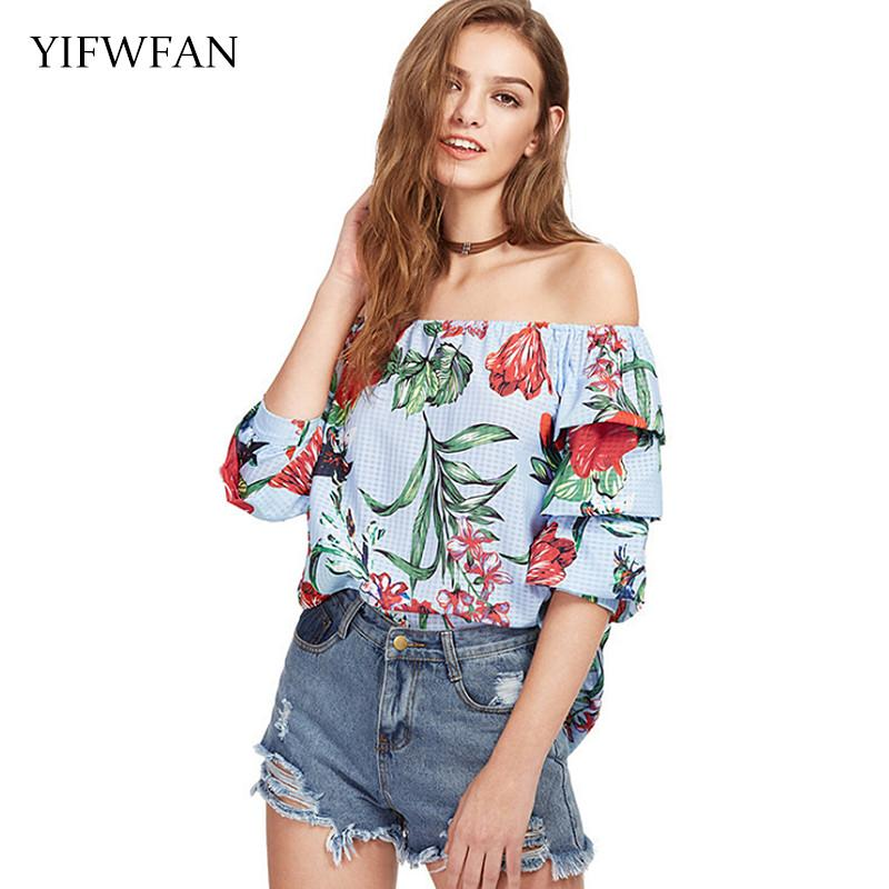 85d7465577c808 2019 YIFWFAN Floral Print Sexy Tops Off Shoulder Half Sleeve Loose Women  Chiffon Shirt Spring Summer Blouse Femme Moda Mujer 2018 From Beasy112