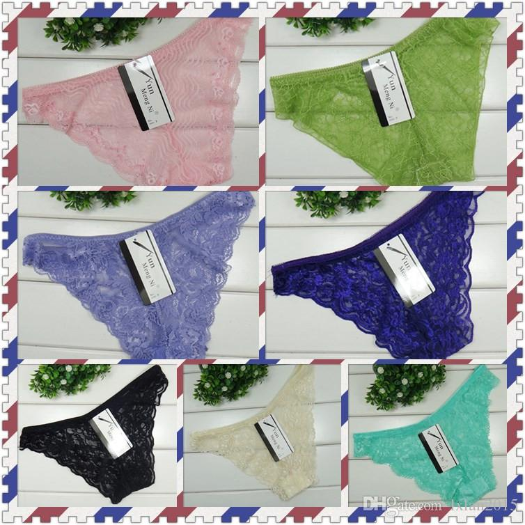 Breathable sexy hollowed-out lace ladies underwear ladies briefs mixed colors for free delivery