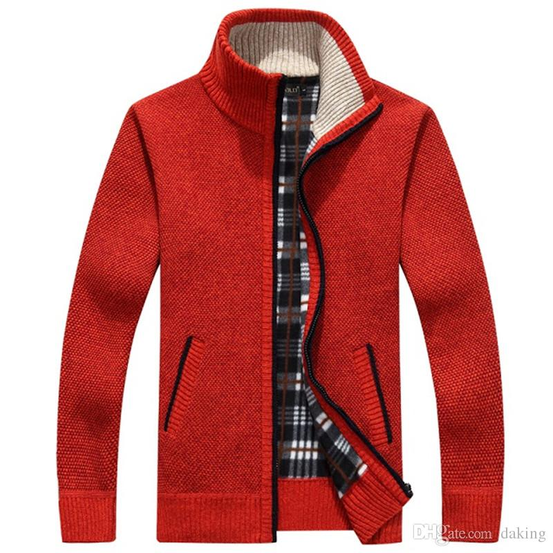 Men Cardigan Sweaters Autumn Winter Warm Cashmere Wool Zipper Cardigan Casual cotton Knitwear Plus Size RED beige Handsome Mandarin Collar
