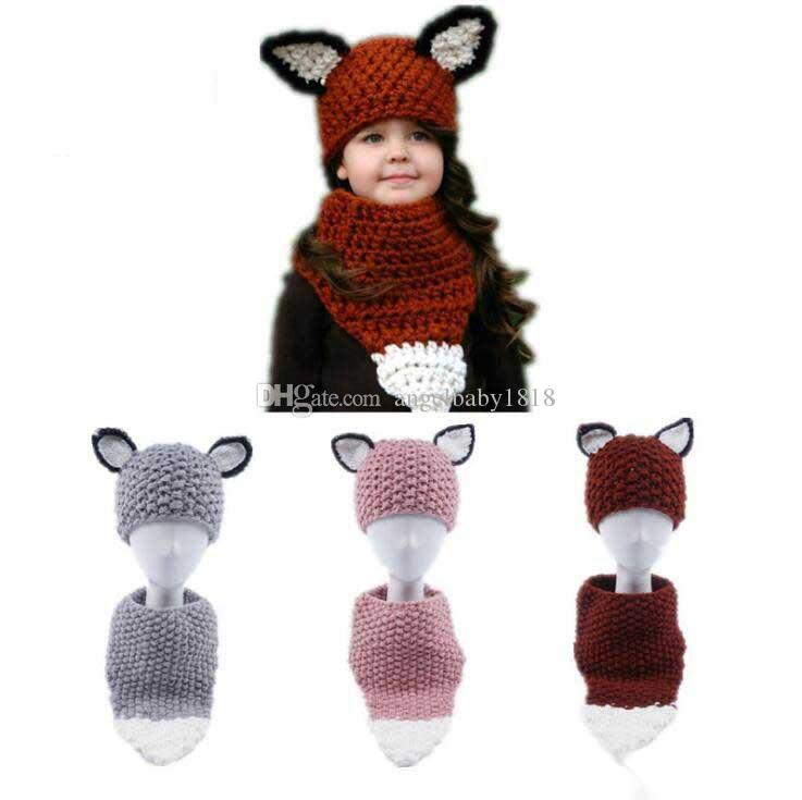 Tilki Örgü Şapka Çocuklar Atkılar Caps Kızlar Yün Örme Beanie Eşarp Kış Kulak Koruma Kap Sarar Moda Şapka Çocuk atkısı