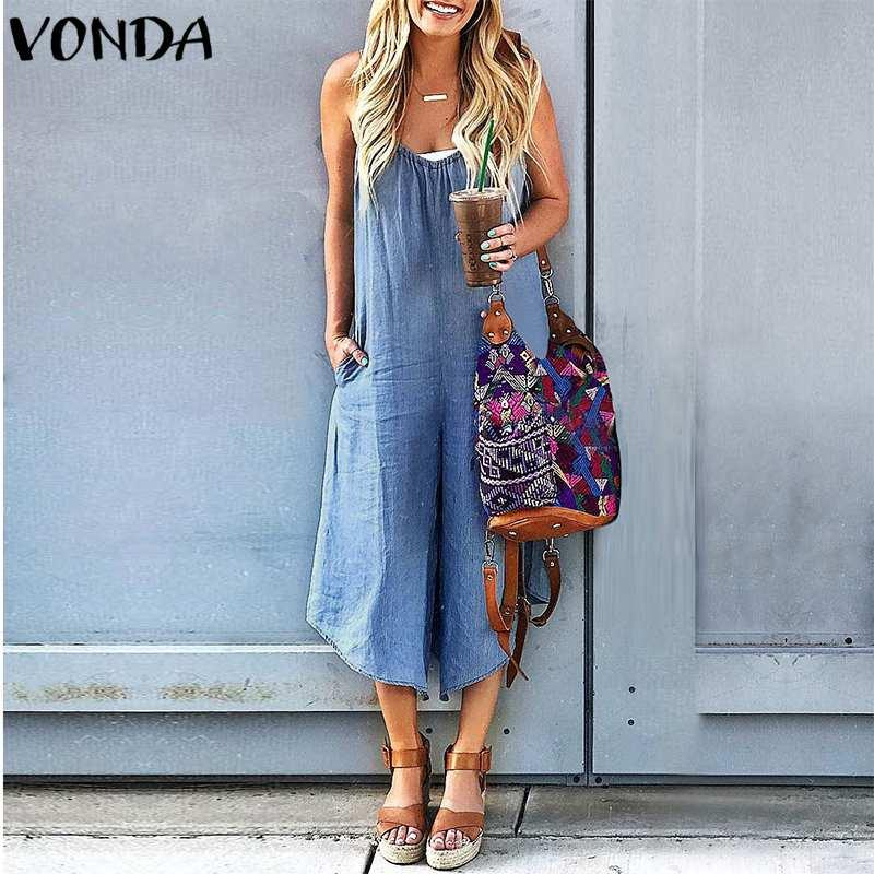 ec03511c75 2019 2018 Summer Rompers Womens Jumpsuit VONDA Sexy Straps Wide Leg Pants  Casual Loose V Neck Sleeveless Playsuits Plus Size Overalls From Vikey16