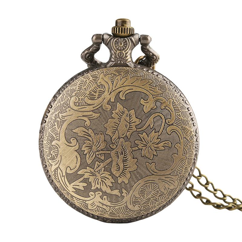 Classic Vintage Native American Old Man Design Quartz Fob Pocket Watch Bronze Pendant Necklace Chain Best Sourvenir Gift