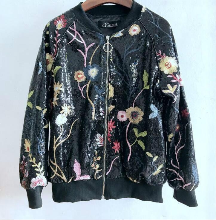797980afee6a8 Womens Flower Embroidery Sequins Bomber Jacket Stand Collar Outerwear Tops  Online with $64.66/Piece on Machenshuo123's Store | DHgate.com