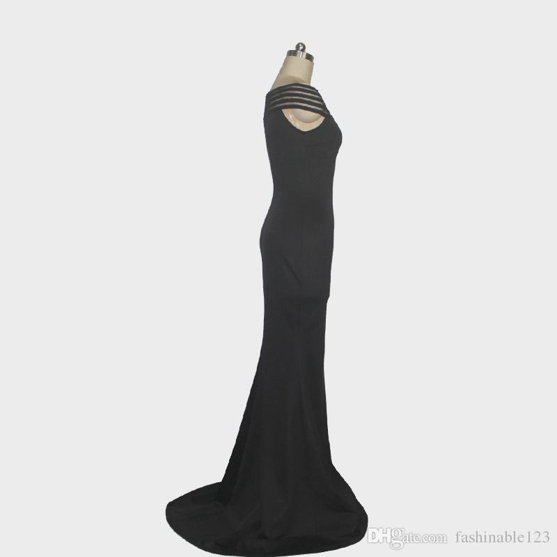 2018 été chaud-vente slash cou laminé sirène -parole longueur maxi longue banquet robe mince