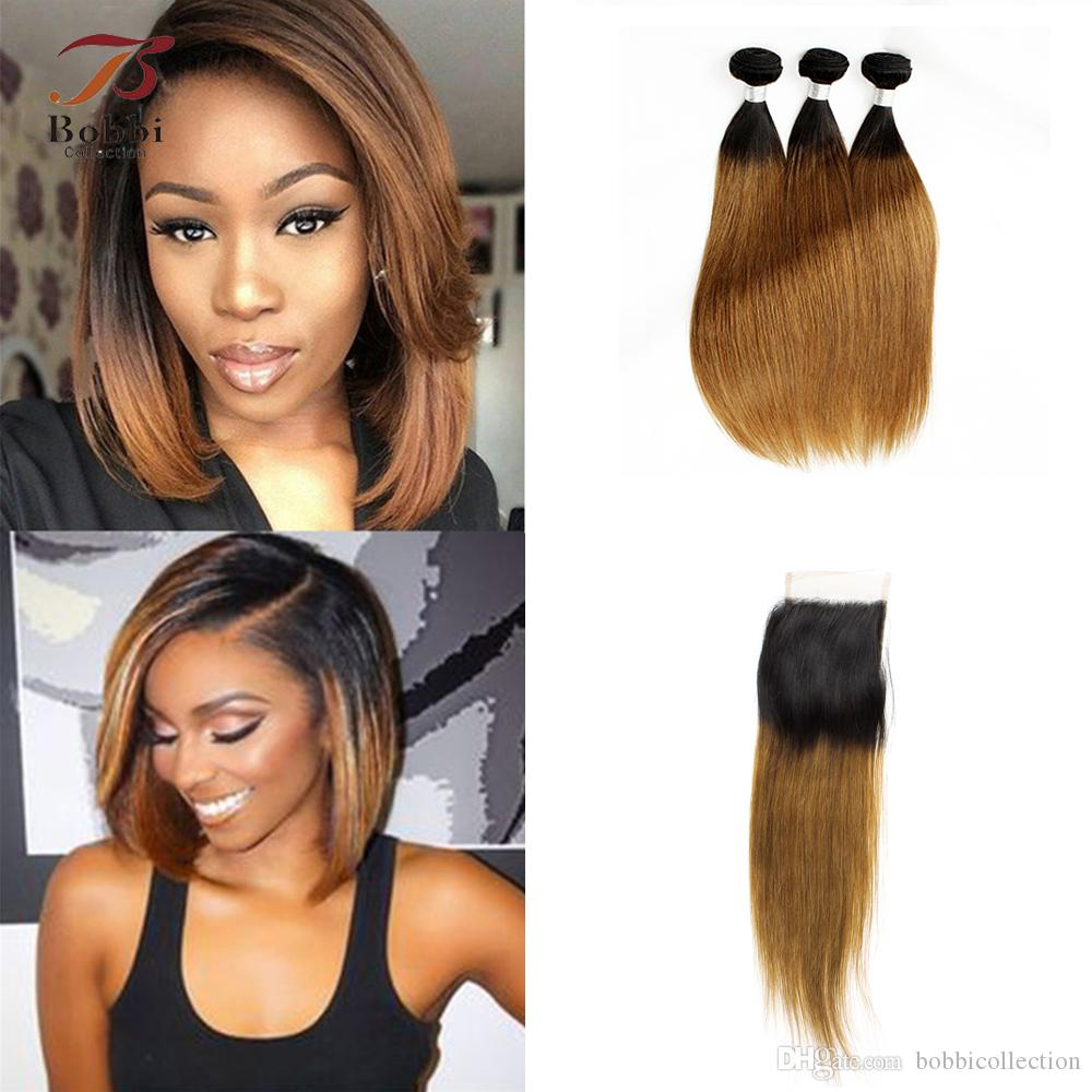 Ombre Hair Extensions Peruvian Hair T1b 30 Dark Roots Brown Straight