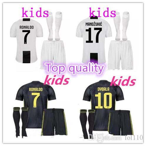 b9a417cb0be Top Quality 1819 Juventus Soccer Jersey RONALDO DYBALA KIDS Soccer ...