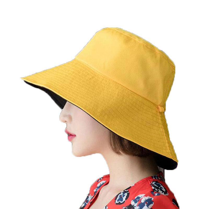 58a3411a64bee Womens Bucket Hats Female Cotton Fisherman Cap Solid Reversible Outdoor Beach  Hat Sun Protective Cap Adult Wide Brim Hat Mens Caps Crazy Hats From  Rainbowwo ...
